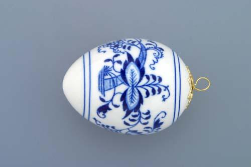 Cibulák velikonoční vajíčko závěsné 7,5 cm originální cibulákový porcelán Dubí, cibulový vzor,