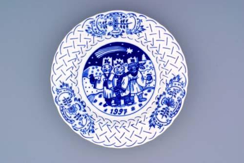 Cibulák talíř výroční 1997 závěsný reliéfní 18 cm originální cibulákový porcelán Dubí, cibulový vzor,