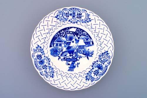 Cibulák Talíř výroční 2001 závěsný reliéfní 18 cm , originální cibulákový porcelán Dubí , cibulový vzor,