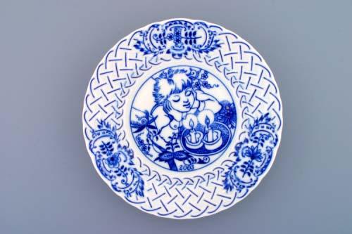 Cibulák Talíř výroční 2003 závěsný reliéfní 18 cm , originální cibulákový porcelán Dubí , cibulový vzor,