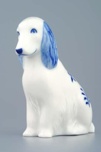 Cibulák Pes sedící 10 cm originální cibulákový porcelán Dubí, cibulový vzor,