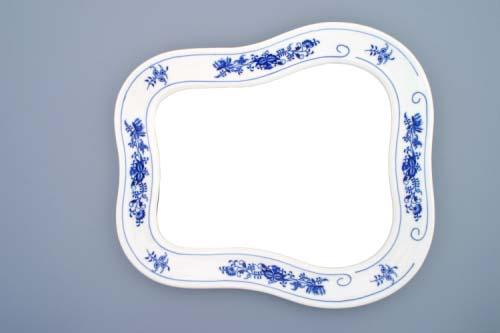 Cibulák zrcadlo s rámem závěsné 40 cm originální cibulákový porcelán Dubí, cibulový vzor,
