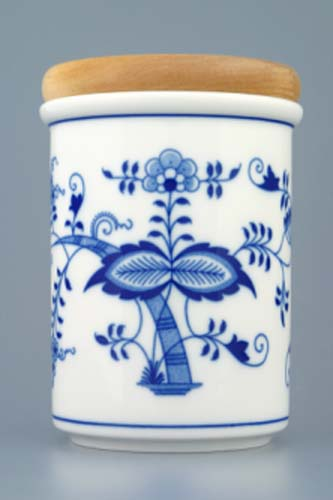 Cibulák dóza s dřevěným uzávěrem C velká 13 cm originální cibulákový porcelán Dubí, cibulový vzor,