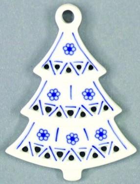 Cibulák Vánoční ozdoba stromeček prolamovaný 8,5 cm originální cibulákový porcelán Dubí, cibulový vzor,