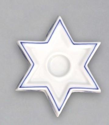 Cibulák Svícen plochý hvězda 9 cm originální cibulákový porcelán Dubí, cibulový vzor,