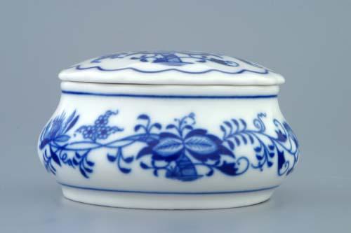Cibulák Dóza šperkovnice kulatá s víčkem 9 cm originální cibulákový porcelán Dubí, cibulový vzor,