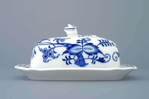 Cibulák máslenka hranatá malá komplet 17 x 13 cm originální cibulákový porcelán Dubí, cibulový vzor,