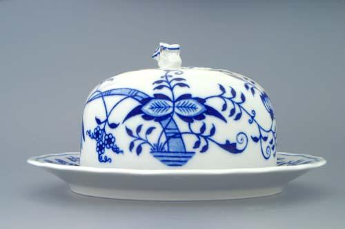 Cibulák Dóza na sýr kulatá komplet 19 cm originální cibulákový porcelán Dubí, cibulový vzor,