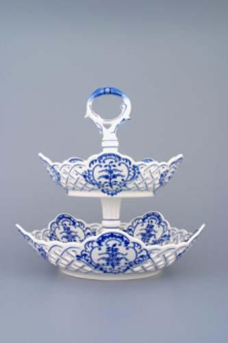 Cibulák Etažér 2-dílný mísy pětihranné prolamované porcelán tyčka 27 cm originální cibulákový porcelán Dubí, cibulový vzor,