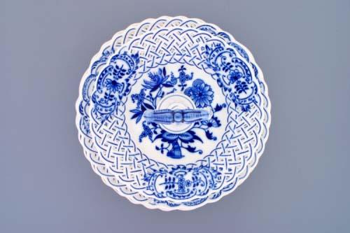 Cibulák Etažér 3-dílný talíře prolamované, porcelánová tyčka 36 cm originální cibulákový porcelán Dubí, cibulový vzor,