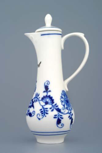 Cibulák karafka s víčkem s nápisem dle specifikace 0,35 l originální cibulákový porcelán Dubí, cibulový vzor