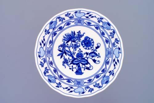 Cibulák Mísa kompotová oboustranná na ozdobné noze nízké 24 cm originální cibulákový porcelán Dubí, cibulový vzor,