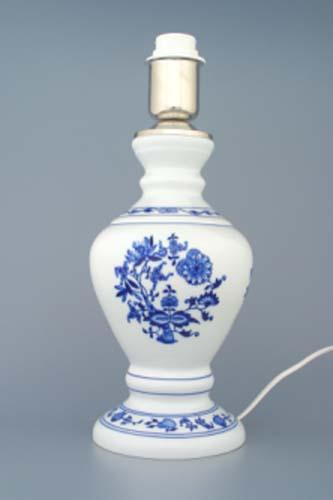 Lampa cibulák se stínítkem hladkým 42 cm originální cibulákový porcelán Dubí