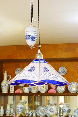 Cibulák Lampa stahovací dekor cibulák 46 cm originální cibulákový porcelán Dubí, cibulový vzor