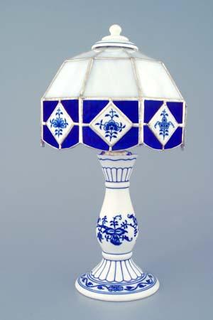 Cibulák Noční lampička vitráž 30 cm originální cibulákový porcelán Dubí, cibulový vzor