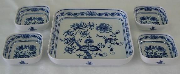 Cibulák Souprava misek čtyřhranných, 9,5 cm, originální cibulákový porcelán Dubí, cibulový vzor,