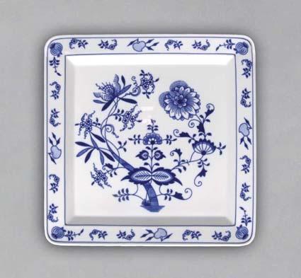 cibulák talíř čtyřhranný 27,5 cm originální cibulákový český porcelán Dubí