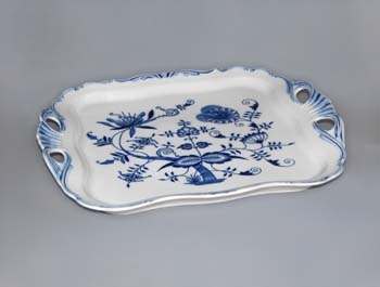 Cibulák Podnos Aida čtvercový 34 cm originální cibulákový porcelán Dubí, cibulový vzor