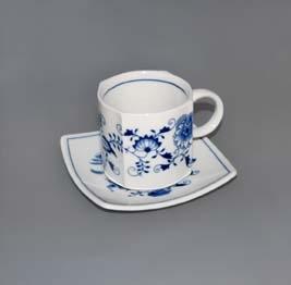 Cibulák šálek + podšálek Vito zrcadlový podšálek 0,21 l originální cibulákový porcelán Dubí, cibulový vzor,