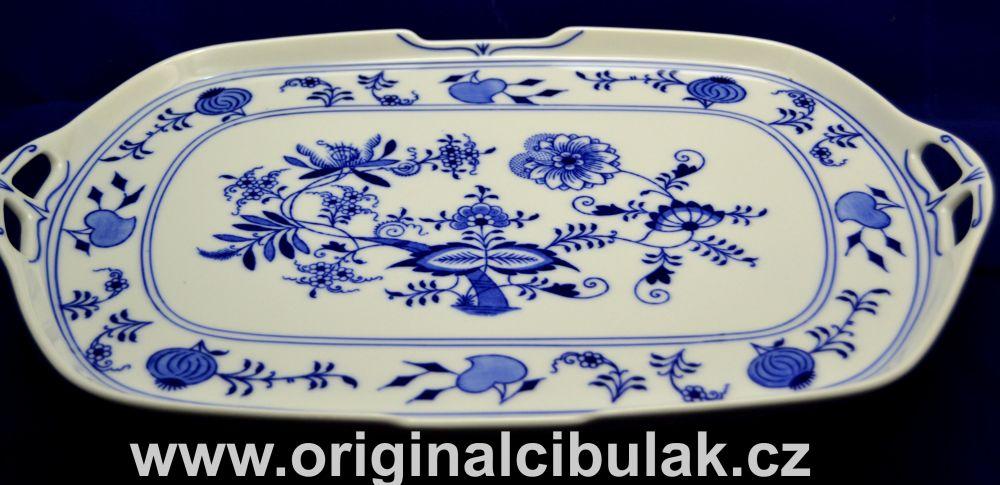 Cibulák podnos čtyřhranný s uchy 38 cm, originální cibulákový porcelán Dubí, cibulový vzor,