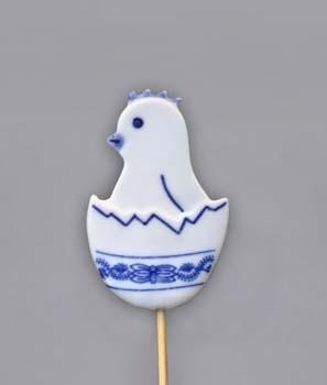 Cibulák Velikonoční ozdoba kuřátko ve skořápce zápich 29 cm, originální cibulákový porcelán Dubí, cibulový vzor,