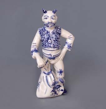 Cibulák čert Lucifer 20 cm, originální cibulákový porcelán Dubí, cibulový vzor,