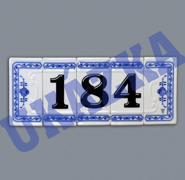 Cibulák číslo na dům 11 cm originální cibulákový porcelán Dubí, cibulový vzor,
