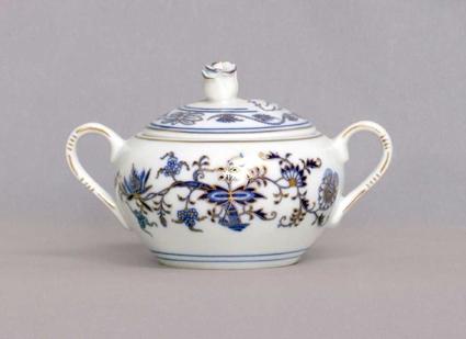 Cukřenka s oušky s víčkem bez výřezu 0,30 l originální cibulák zlacený, cibulový porcelán Dubí