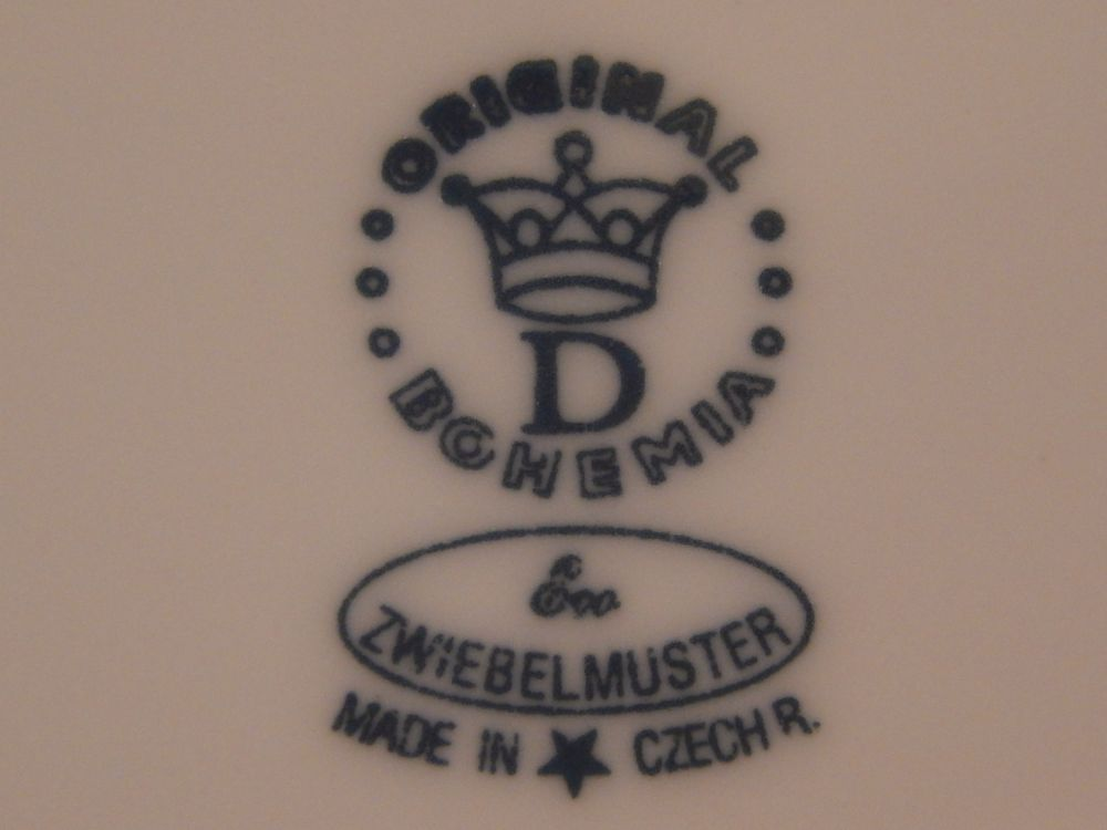 Talíř dezertní praporový 19 cm - ECO cibulák, cibulový porcelán Dubí