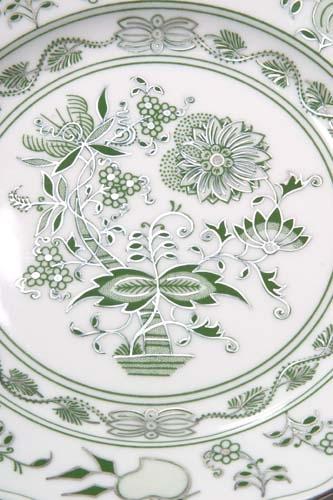 Talíř dezertní praporový 19 cm - originální cibulák zelený s platinou, cibulový porcelán Dubí