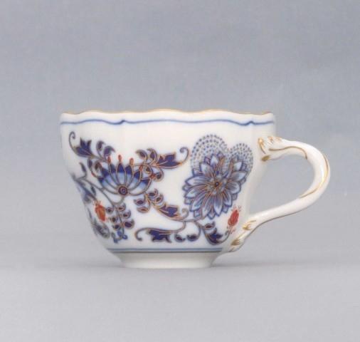Šálek vysoký A/1, 0,12 l - originální cibulák zlacený s dekorací rubín, cibulový porcelán Dubí
