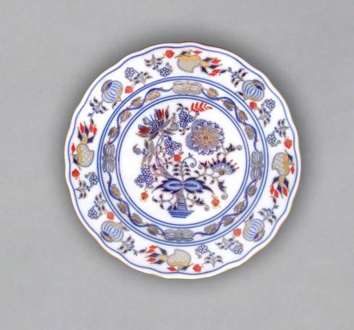 Talíř dezertní praporový 19 cm - originální cibulák zlacený s dekorací rubín, cibulový porcelán Dubí