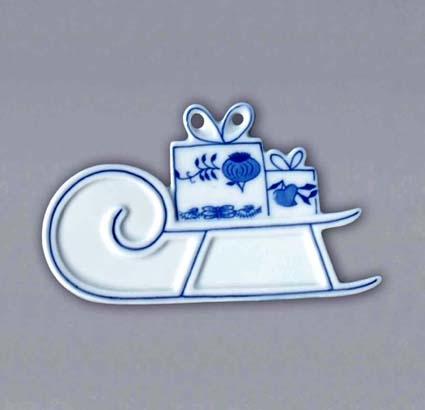 Cibulák vánoční ozdoba sáňky 9 cm originální cibulákový porcelán Dubí, cibulový vzor