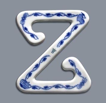 Cibulák spona na záclonu Z velká, 12,5 cm, originální cibulákový porcelán Dubí, cibulový vzor,