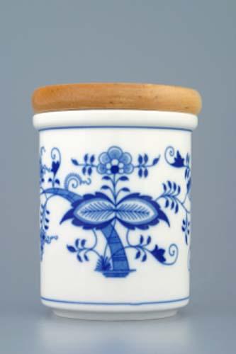 Cibulák dóza s dřevěným uzávěrem B střední 11 cm český porcelán Dubí