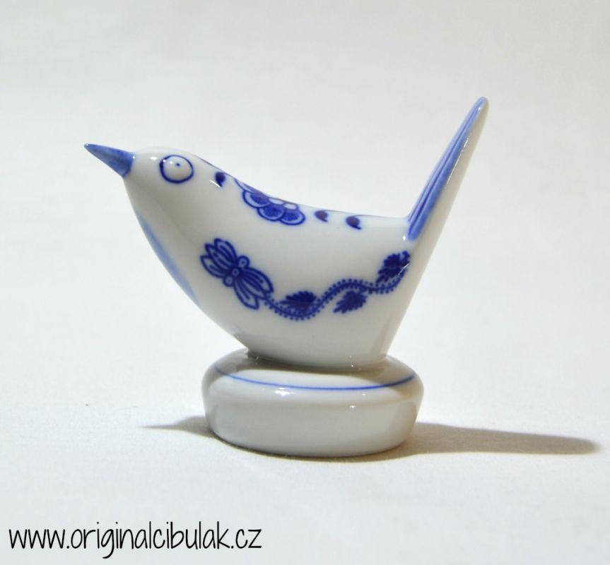 Cibulák Ptáček III malý 8 cm originální cibulákový porcelán Dubí, cibulový vzor,