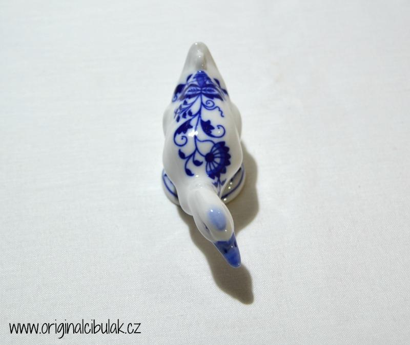Cibulák Kachna 9,5 cm originální cibulákový porcelán Dubí, cibulový vzor,