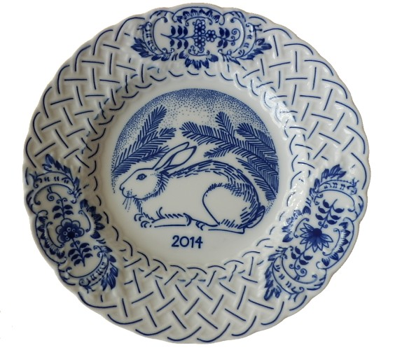 Cibulák výroční talíř 2014, 18 cmoriginální cibulákový porcelán Dubí , cibulový vzor,