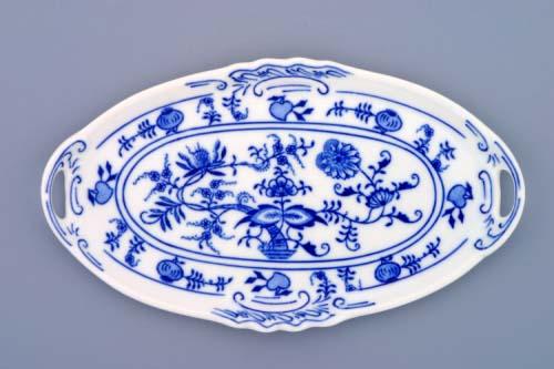 Cibulák Podnos s oušky pod likérovou soupravu mini 21 cm originální cibulákový porcelán Dubí cibulový vzor