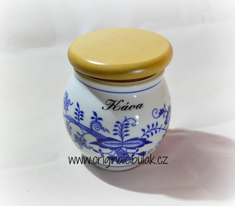 Cibulák dóza Baňák s dřevěným uzávěrem a nápisem 10,5 cm originální cibulákový porcelán Dubí, cibulový vzor,