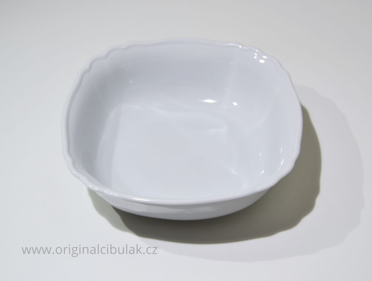 mísa salátová čtyřhranná italská celá bílá 21 cm český porcelán Dubí,