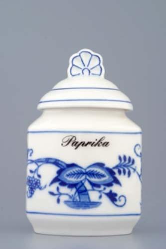 Víko k dózičce na koření 0,20 l originální cibulákový porcelán Dubí, cibulový vzor,
