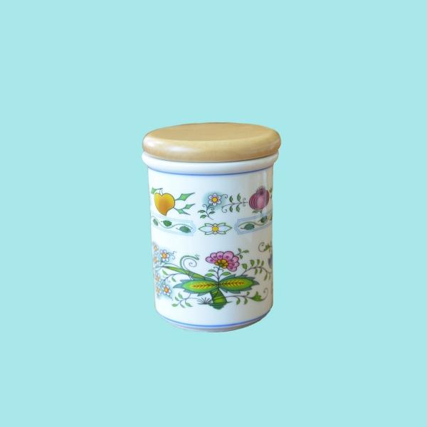 Dóza s dřevěným uzávěrem C velká 13 cm NATURE barevný cibulák, cibulový porcelán Dubí