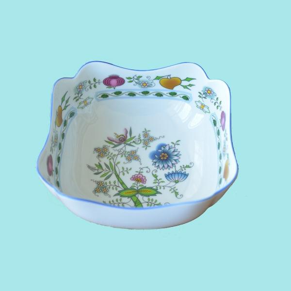 Mísa salátová čtyřhranná vysoká 18 cm NATURE barevný cibulák, cibulový porcelán Dubí 1.jakost
