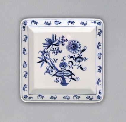 talíř čtyřhranný 21,5 cm 10615 cibulák český porcelán Dubí