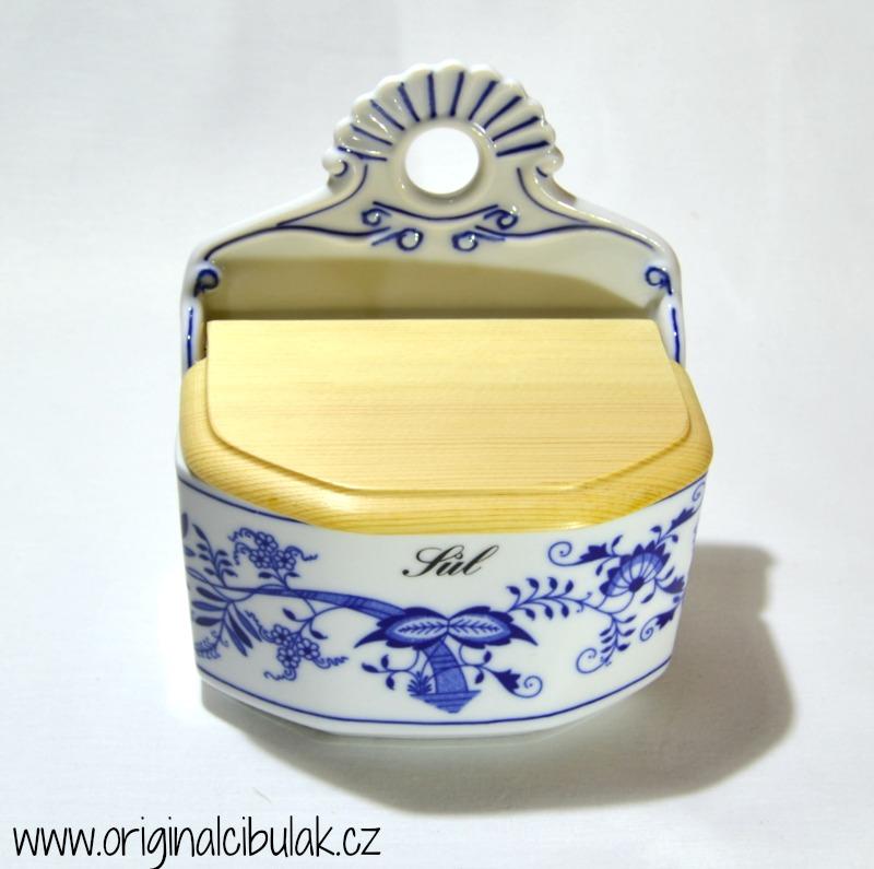 Cibulák slánka závěsná s dřevěným víkem a s nápisem Sůl 0,70 l český porcelán Dubí