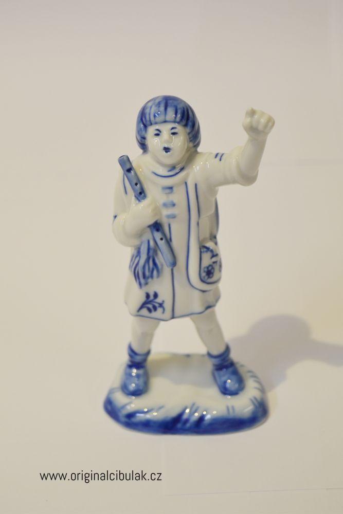 Cibulák Chlapec s píšťalkou 14 cm originální cibulákový porcelán Dubí, cibulový vzor,