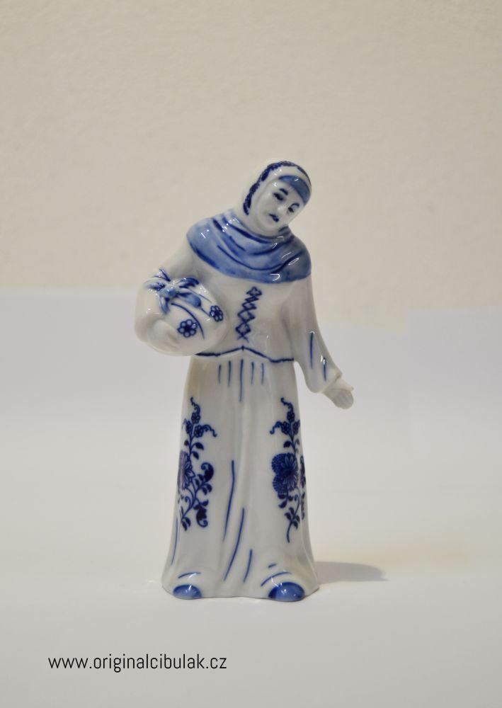 Cibulák Stařenka s uzlíkem 15 cm originální cibulákový porcelán Dubí, cibulový vzor,
