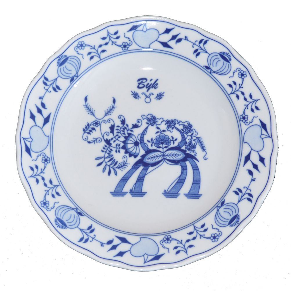 Cibulák talíř 24 cm zvěrokruh Býk horoskop Český porcelán Dubí