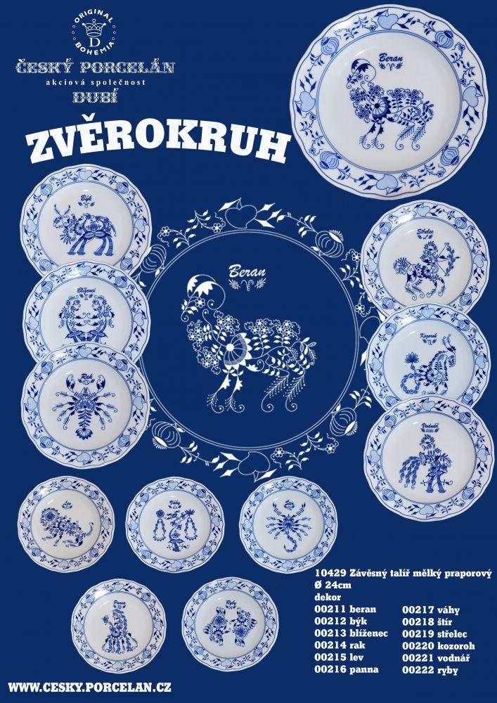 Cibulák talíř 24 cm zvěrokruh Vodnář horoskop Český porcelán Dubí